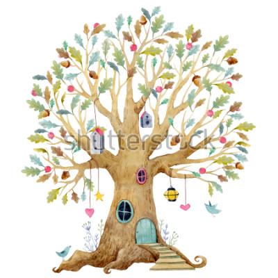 Fototapeta Ilustracja drzewa dzieci akvarela, drzewo genealogiczne, drzewo genealogiczne. słodkie drzewo bajki, ilustracja dla dzieci