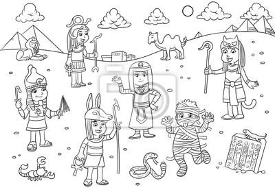 Ilustracja Egiptu Dzieciecej Kreskowki Dla Kolorowanka Fototapeta
