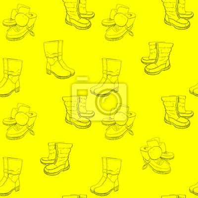 Fototapeta: Ilustracja ręcznie rysowane szkic wzór butów. trampki, buty,