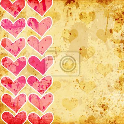 Fototapeta ilustracja retro serc