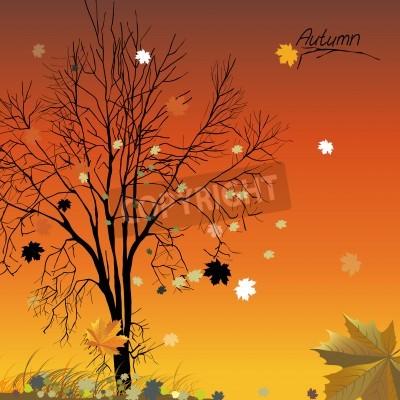 Fototapeta Ilustracja tła z jesieni opadłych liści