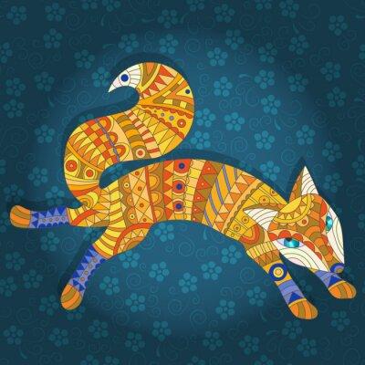 Fototapeta Ilustracja w stylu szkła barwionego abstrakcyjnego kotów i ryb