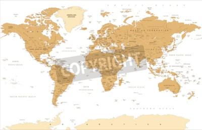 Fototapeta Ilustracja wektorowa mapa świata politycznego rocznika.