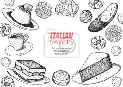 Fototapeta Ilustracja wektorowa włoski deser. Włoski słodki ręcznie rysowane szkic. Kolekcja do pieczenia. Szablon projektu Vintage. Ilustracja Panna Cotta, Tiramisu, Bombolone, Torta Caprese, Biscotti, Pizzelle