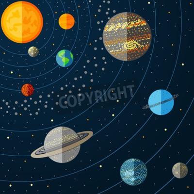 Fototapeta Ilustracja z planet układu słonecznego. ilustracji wektorowych