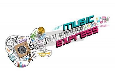 Fototapeta ilustracji muzycznej doddle w kształcie gitary