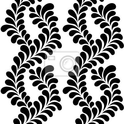 Fototapeta ilustracji wektorowych bez szwu abstrakcyjny wzór, rośliny ozdobne z kropli w kształcie liści, czarno-białe grafiki
