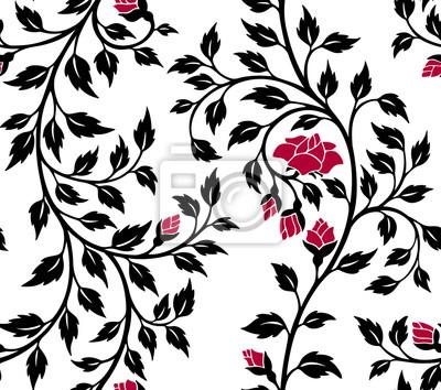 Fototapeta ilustracji wektorowych bez szwu wzór, dekoracyjne gałęzie róża z czerwonymi kwiatami