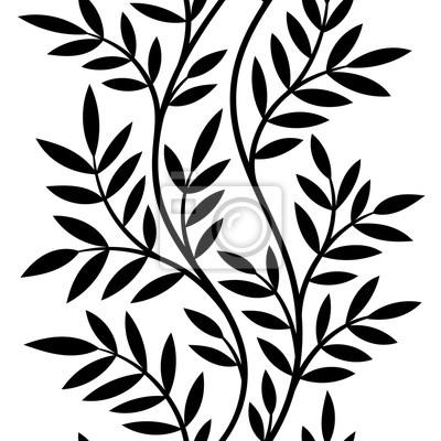 Fototapeta ilustracji wektorowych bez szwu wzór, ozdobne czarne i białe drzewo falisty gałęzie z liśćmi na białym tle