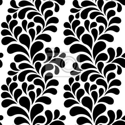 Fototapeta ilustracji wektorowych bez szwu wzór, rośliny ozdobne z kropli w kształcie liści, czarno-białe grafiki