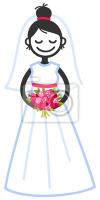 45307c699e Fototapeta Ilustracji wektorowych cute stick rysunek panny młodej w sukni  ślubnej gospodarstwa bukiet ślubny na białym