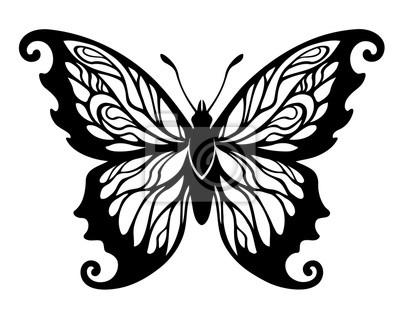 Fototapeta ilustracji wektorowych, dekoracyjne czarno-biały design motyl