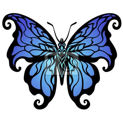 Fototapeta ilustracji wektorowych, dekoracyjne niebieski motyl projektowania