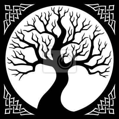 Fototapeta ilustracji wektorowych, dekoracyjne sylwetka drzewa z okrągłą ramą i celtyckiej granicy