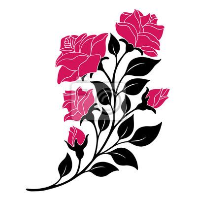 Fototapeta ilustracji wektorowych, element dekoracji, czarno-biała róża oddział z czerwonymi kwiatami