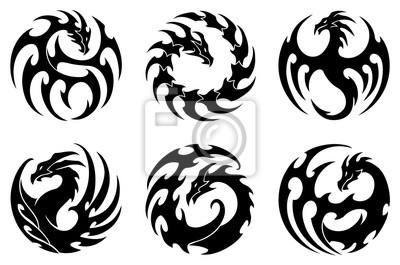 Fototapeta Ilustracji Wektorowych Komplet Okrągłych Plemiennych Wzorów
