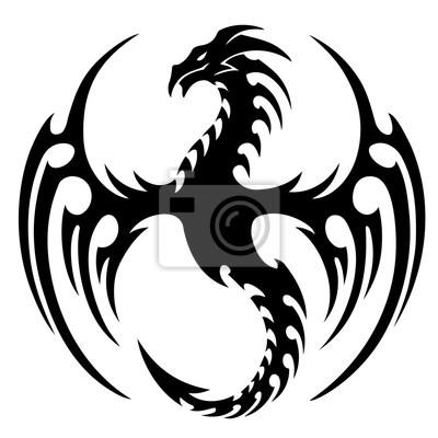 Fototapeta Ilustracji Wektorowych Tribal Tatuaż Smoka Design Czarno Białe