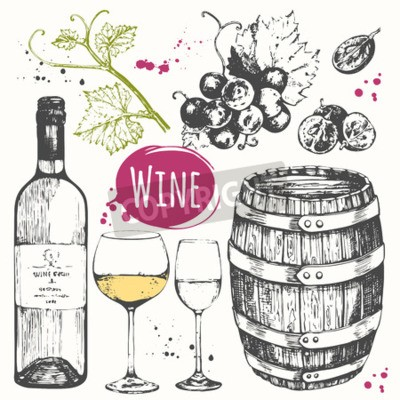 Fototapeta ilustracji wektorowych z beczki wina, kieliszki do wina, winogron, gałązka winogron. Klasyczny napój alkoholowy.