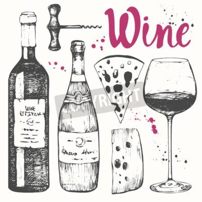 Fototapeta ilustracji wektorowych z kieliszek do wina, korkociąg, butelki, szampan, ser. Klasyczny napój alkoholowy.