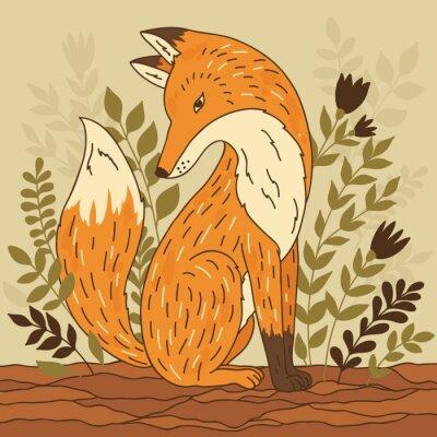 Fototapeta ilustracji wektorowych z lisa