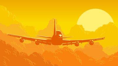 Fototapeta ilustracji wektorowych z nieba i chmury z latania samolotów.