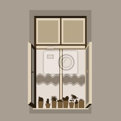 Fototapeta Ilustracji Wektorowych Z Otwartego Okna Drewniane Z Kurtyny I