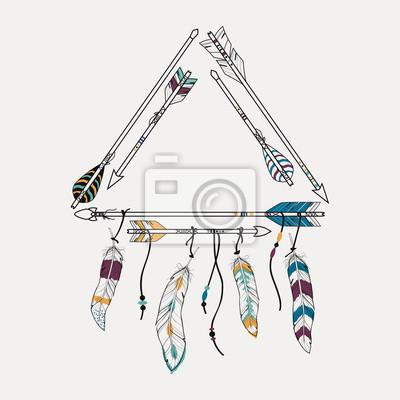 b4677e20abd1f4 Fototapeta ilustracji wektorowych z plemienia ramki ze strzałkami  etnicznych i piór. Amerykańskie motywy Indyjskim.