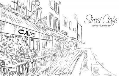 Fototapeta ilustracji wektorowych z ulicy kawiarni