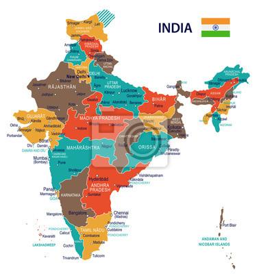 Fototapeta Indie - mapa i flaga - ilustracja