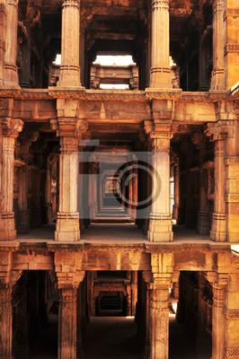 Fototapeta Indien / Gujarat: Der Adalaj Krok Dobrze Tempel w Ahmedabad