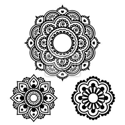 Indyjski Tatuaż Henną Cały Projekt Mehndi Wzór Fototapeta