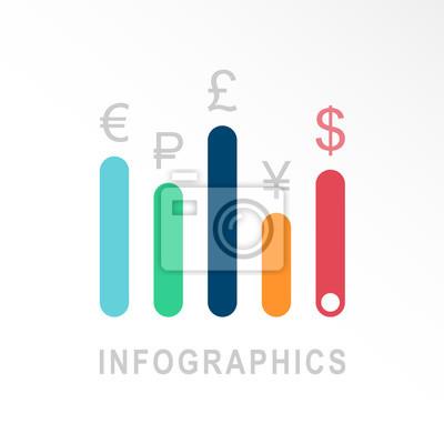 Fototapeta Infografika wektorowe ikony. Szablon godło Biznes wykresy wykres p