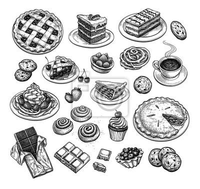 Fototapeta Ink sketch of desserts.