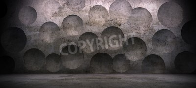 Fototapeta interior scene with concrete wall and sphere effect