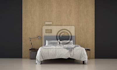 Fototapeta Interiorof Minimalny Sypialnia Projekta Pomysł I Drewno ścienny