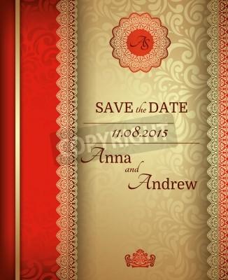 Fototapeta Invitation Card Baroque Golden And Red Vintage Frame Border