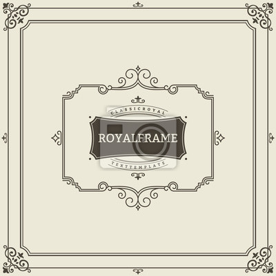 Fototapeta Invitation Frame Vintage Ornament Greeting Card Vector Template