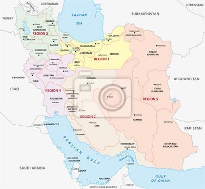 Iran Regiony Mapa Administracyjna I Polityczna Fototapeta