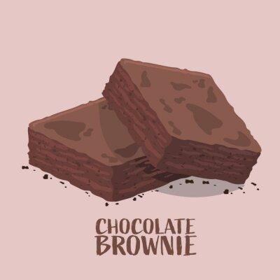 Fototapeta Isometric design of chocolate brownies