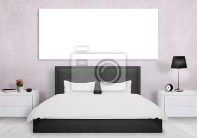 Fototapeta Izolowane Płótnie W Sypialni łóżko Szafka Nocna Lampka Roślin