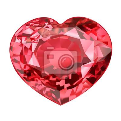 9f7c54cee74605 Fototapeta izolowany kamień czerwony klejnot w kształcie serca na białym tle
