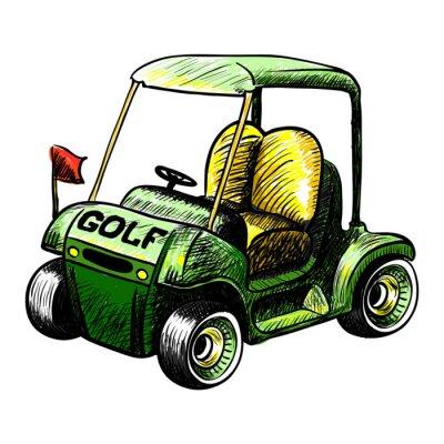 Fototapeta Izolowany koszyk wektora golfa. Wektor szkic kolor linii