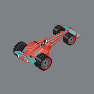 Fototapeta Izometryczny sportowy samochód. Izolowane ilustracja kreskówka auto do wyścigów. Czerwony sport samochodowy z biegacza wewnątrz.