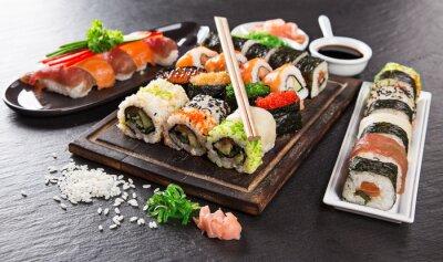 Fototapeta Japanese seafood sushi set