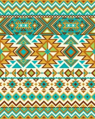 Fototapeta Jasny bezszwowe tło z wzorem pikseli w Aztec geometrycznym stylu tribal. ilustracji wektorowych. kolorów Pantone.