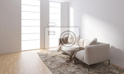 Fototapeta Jasny pokój z kanapą stojącą na dywanie