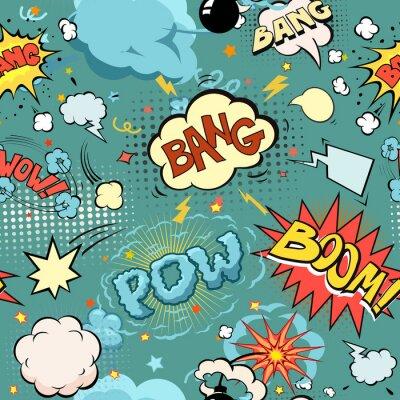 Fototapeta Jednolite Comic Book Explosion, bomb i Blast Set. Pęcherzyki dla mowy, różne dźwięki i strzały.