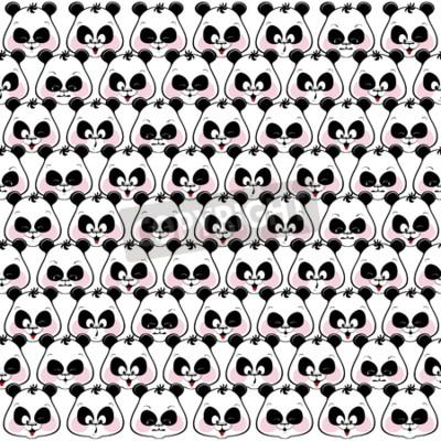 Fototapeta Jednolite kolorowe tło zabawnych kagańce pand. illustratio