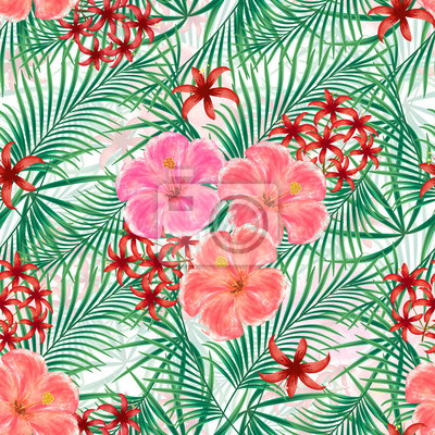 ebb96c28c89b1a Fototapeta Jednolite kwiatowy wzór tropikalny, różowe, czerwone kwiaty,  zielone liście na białym tle