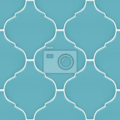 Fototapeta Jednolite Niebieskie Wzorzyste Płytki Dekoracyjne ścienne Wzór
